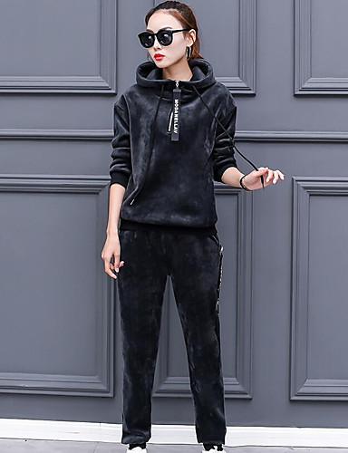 Damen Solide Muster Buchstabe Einfach Lässig/Alltäglich Kapuzenshirt Hose Anzüge Frühling Kurzarm