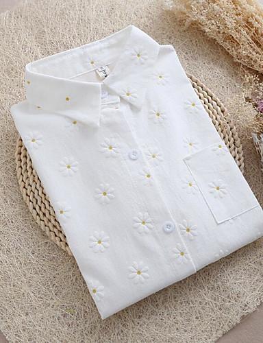 Damen Blumen Einfach Lässig/Alltäglich Hemd,Hemdkragen Langarm Baumwolle