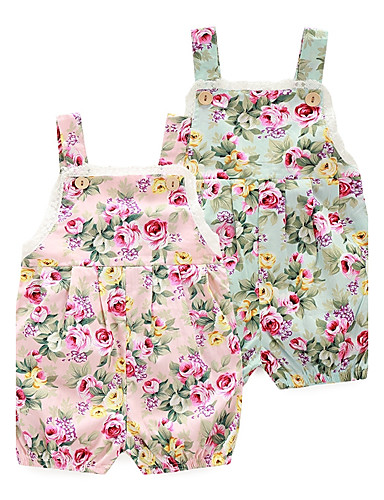 cheap With Lovely Romper-Baby Girls' Floral Floral / Fashion Print Sleeveless 100% Cotton Romper Pink / Toddler