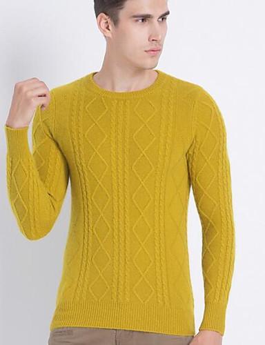 Herren Kurz Pullover-Lässig/Alltäglich Solide Rundhalsausschnitt Langarm Wolle Baumwolle Frühling Herbst Mittel Mikro-elastisch