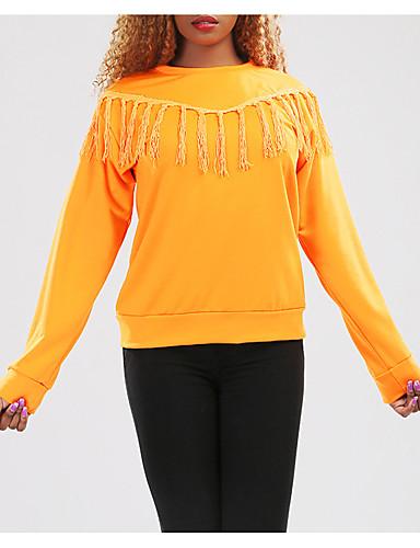 Damen Pullover Lässig/Alltäglich Einfach Solide Quaste Rundhalsausschnitt Mikro-elastisch Baumwolle Lange Ärmel Winter
