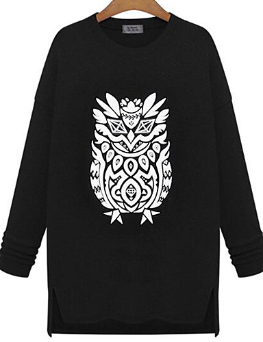 Damen Pullover Lässig/Alltäglich Einfach Solide Druck überdimensional Rundhalsausschnitt Unelastisch Baumwolle Lange Ärmel Winter