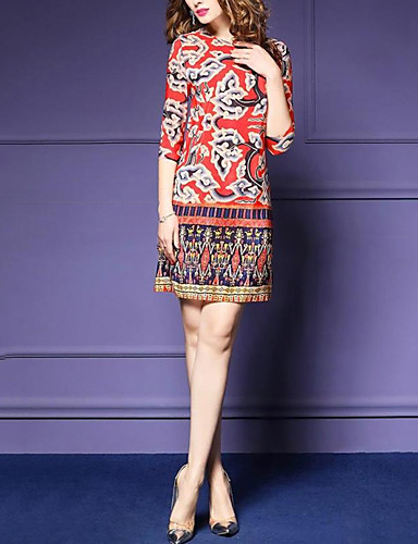 Women's Holiday / Going out / Club Sophisticated A Line Dress Print