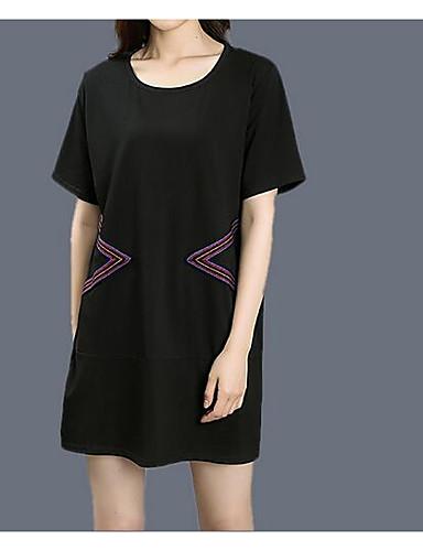 Damen Hülle Kleid-Lässig/Alltäglich Druck Rundhalsausschnitt Übers Knie Halbe Ärmel Baumwolle Frühling Mittlere Hüfthöhe Mikro-elastisch