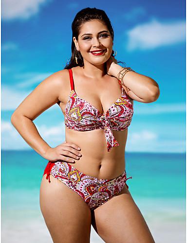 Mujer Relleno / Boho Halter Azul Marino Rojo Azul Real Bikini Bañadores XXXXL XXXXXL XXXXXXL