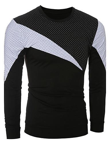 Herren Punkt Einfarbig Street Schick Ausgehen Lässig/Alltäglich T-shirt,Rundhalsausschnitt Sommer Herbst Langarm Baumwolle Mittel
