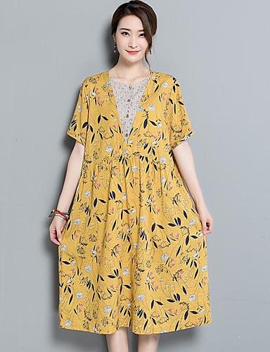 Damen Swing Kleid-Lässig/Alltäglich Druck Rundhalsausschnitt Midi Kurzarm Baumwolle Sommer Hohe Hüfthöhe Unelastisch Undurchsichtig