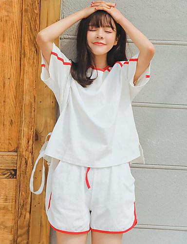 Damen Ausgehen Freizeit Baumwolle T-shirt - Solide Hose
