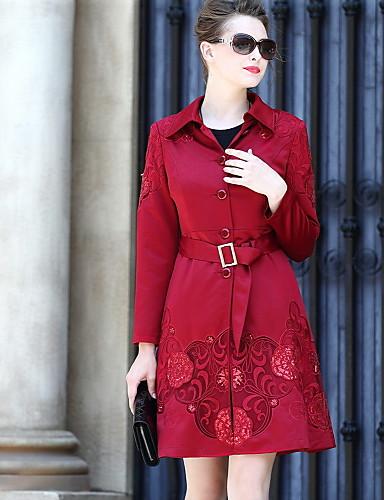 Damen Solide Anspruchsvoll Alltag Standard Mantel, Hemdkragen Winter Herbst Baumwolle Polyester Druck