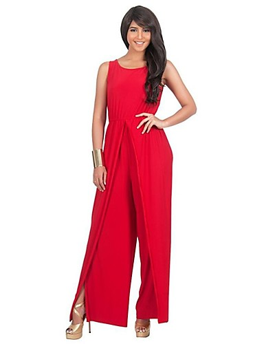 Women's Plus Size Beach Jumpsuit - Solid Colored, Split High Rise Wide Leg