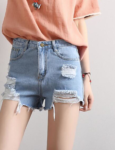 Women's Mid Rise Micro-elastic Jeans Shorts Pants,Simple Slim Solid