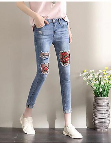 Damen Einfach Chinoiserie Mittlere Hüfthöhe Mikro-elastisch Jeans Skinny Hose Stickerei