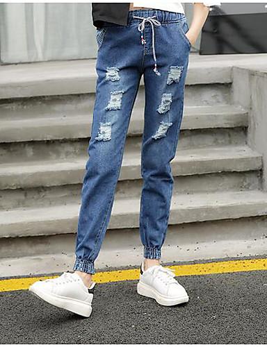 Damen Einfach Hohe Hüfthöhe Unelastisch Jeans Schlank Hose Solide