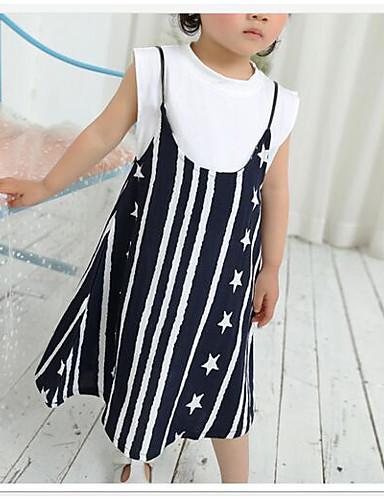 Mädchen Sets Streifen Druck Baumwolle Sommer Ärmellos Kleidungs Set