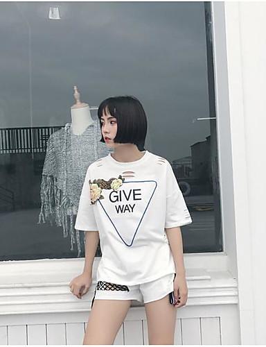 Damen Solide Buchstabe & Nummer Einfach Aktiv Sport Lässig/Alltäglich T-Shirt-Ärmel Hose Anzüge,Rundhalsausschnitt Sommer Kurzarm