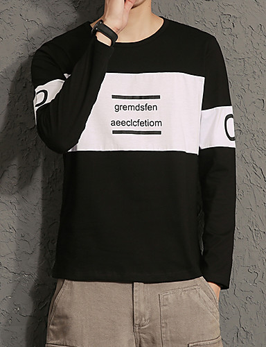 Herren Solide Chinoiserie Lässig/Alltäglich T-shirt,Rundhalsausschnitt Langarm Baumwolle