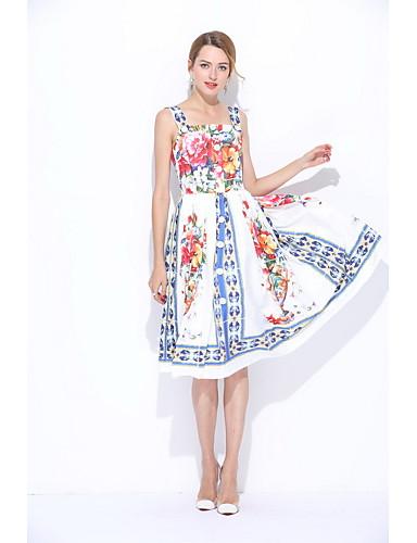 Damen Chinoiserie Lose Hülle Kleid Blumen Gurt