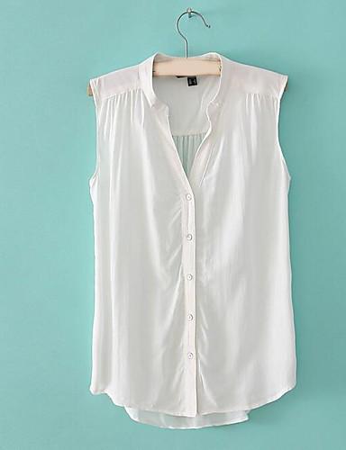 Damen Solide - Street Schick Ausgehen Hemd, V-Ausschnitt