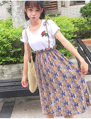 Damen Freizeit T-shirt - Blumen Rock / Sommer