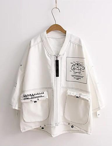 Damen Solide Druck Einfach Chinoiserie Sport Ausgehen Lässig/Alltäglich Jacke,Ständer Frühling Herbst Standard Baumwolle Andere