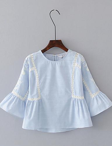 Damen Solide Einfach Sexy Street Schick Lässig/Alltäglich Ausgehen T-shirt,Rundhalsausschnitt Sommer Halbe Ärmel Baumwolle Polyester