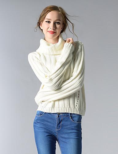 Damen Kurz Pullover-Lässig/Alltäglich Einfach Solide Rollkragen Langarm Acryl Herbst Winter Dick Mikro-elastisch