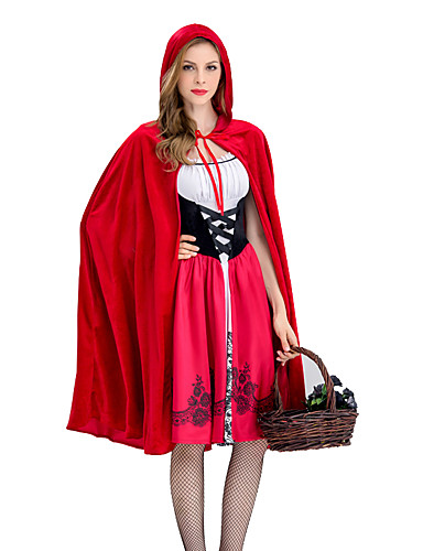 27ca6e86cc Little Red Riding Hood Dress Cosplay Costume Cloak Masquerade Cape Adults'  Women's Christmas Halloween Carnival Festival / Holiday Elastane Tactel Red  ...