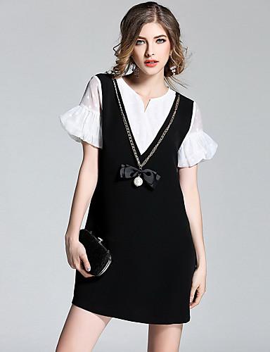 Damen Hülle Kleid-Ausgehen Niedlich Patchwork V-Ausschnitt Übers Knie Kurzarm Polyester Sommer Mittlere Hüfthöhe Mikro-elastisch Mittel