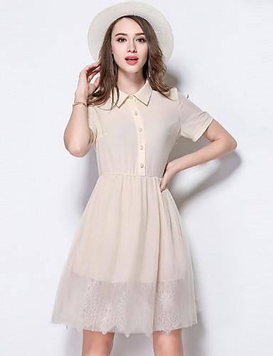 Damen Hülle Kleid-Ausgehen Niedlich Solide Hemdkragen Knielang Kurzarm Polyester Sommer Mittlere Hüfthöhe Mikro-elastisch Mittel