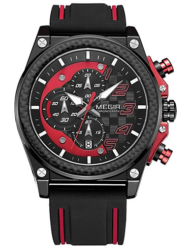 Men's Sport Watch Quartz 30 m Hot Sale Silicone Band Analog Casual Black / Red / Yellow - Black Yellow Red