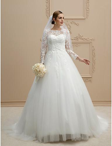 60600ebc5399 Balklänning Prydd med juveler Kapellsläp Spets på tyll Bröllopsklänningar  tillverkade med Pärla / Applikationsbroderi / Spets av LAN TING BRIDE® /  Illusion ...