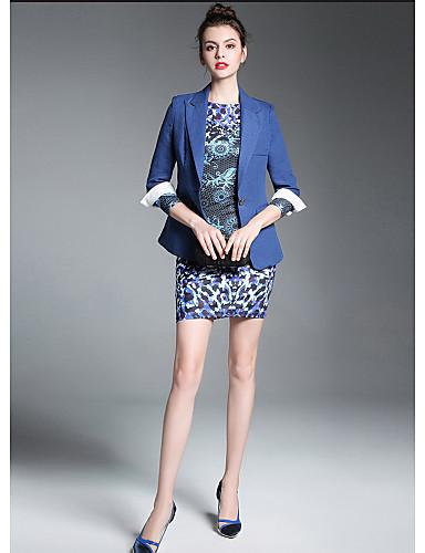 ZIYI Women's Street chic Blazer-Solid Colored Shirt Collar