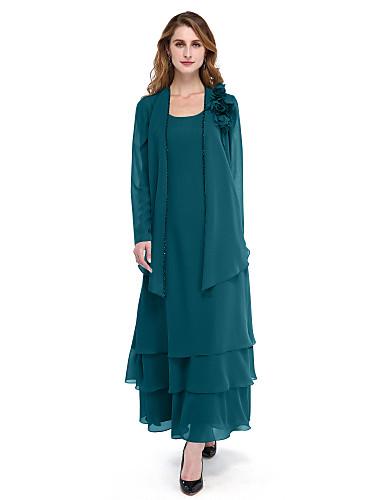 voordelige Wrap Dresses-A-lijn Scoop Neck Tot de enkel Chiffon Bruidsmoederjurken met Kralen / Kwastje / Bloem door LAN TING BRIDE®