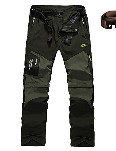 cheap Hiking Trousers & Shorts-Men's Solid Color Hiking Pants Convertible Pants / Zip Off Pants Outdoor Waterproof Anti-Wear Quick Dry Removable Spring Summer Pants / Trousers Bottoms Camping / Hiking Hunting Climbing Black Army