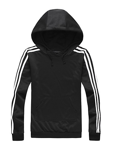 Men's Sports Plus Size Casual Hoodie Striped Stripe Hooded Micro-elastic Cotton Spandex Long Sleeve Fall Winter
