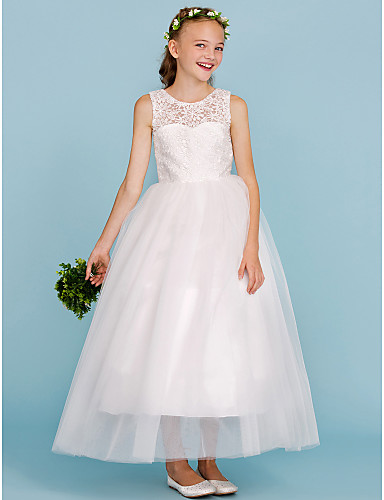 ab57dabf2000c Ball Gown Jewel Neck Ankle Length Lace / Tulle Junior Bridesmaid Dress with  Pleats by LAN