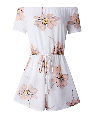 Women's Beach Going out Daily Club Holiday Cute Active Sexy Floral Boat Neck Rompers