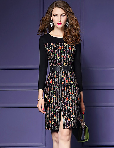 Women's Going out Street chic / Sophisticated Bodycon / Sheath Dress - Florals Split / Print