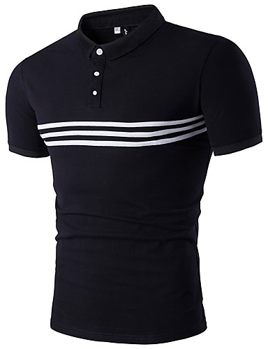Men's Sports Active Polo - Striped / Short Sleeve