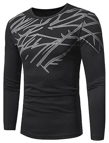 Men's Street chic Plus Size T-shirt - Geometric Round Neck / Long Sleeve