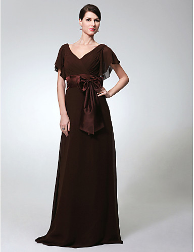 d2c40cffc2e0 Ίσια Γραμμή Λαιμόκοψη V Μακρύ Σιφόν Επίσημο Βραδινό Φόρεμα με Φιόγκος(οι)    Ζώνη   Κορδέλα με TS Couture®