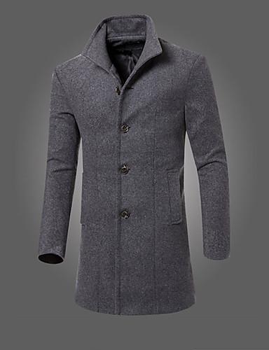 Men's Long Cotton Coat - Solid Colored Shirt Collar