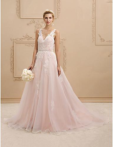 A-vonalú Hercegnő V-alakú Udvari uszály Csipke Organza Egyéni esküvői ruhák val vel Rátétek Selyemövek / Szalagok által LAN TING BRIDE®