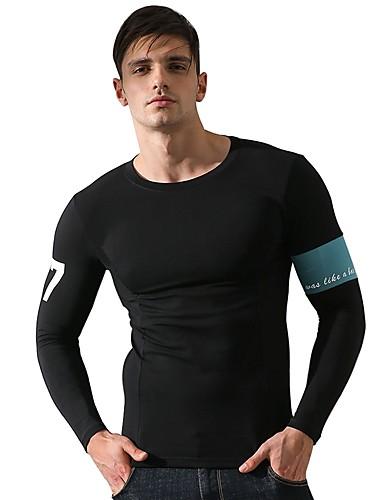 رخيصةأون الركض و المسار-رجالي تيشيرت للجري أسود رمادي رياضات قطن T-skjorte قميص طويل الذراعين غير رسمي لياقة بدنية ركض كم طويل ألبسة رياضية التنفس إمكانية قابل للبسط