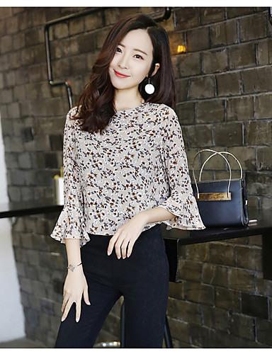 Women's Going out Cute Blouse, Solid Floral Round Neck 3/4 Length Sleeves Cotton