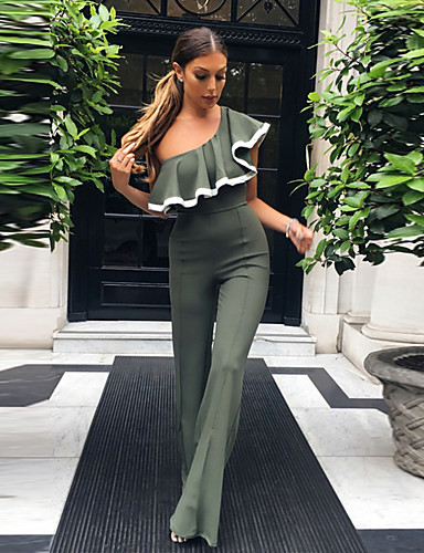 da57f1e8a3d Women s Off Shoulder Ruffle Going out Street chic Boat Neck Gray Wine Army Green  Wide Leg Jumpsuit