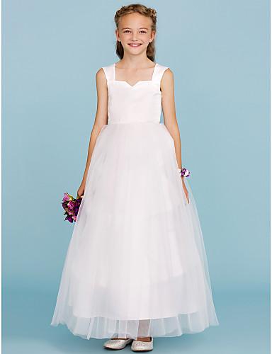 גזרת A / נסיכה באורך הקרסול שמלה לנערת הפרחים - סאטן / טול ללא שרוולים כתפיה עם קפלים על ידי LAN TING BRIDE®