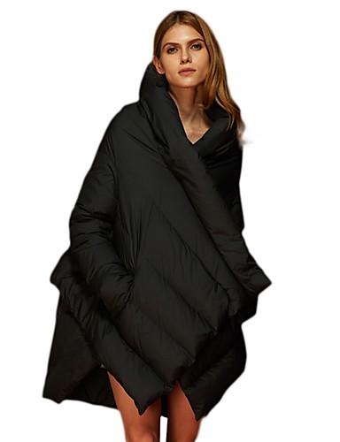 abordables Manteaux & Vestes Femme-Femme Quotidien / Sortie Chic de Rue Couleur Pleine Duvet de Canard Blanc Normal Doudoune, Coton Manches Longues Noir / Vin Taille unique