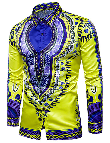 Men's Boho Cotton Slim Shirt - Tribal Print Classic Collar / Long Sleeve