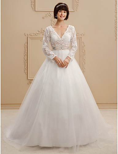 A-Line / Princess V Neck Court Train Lace / Tulle Made-To-Measure Wedding Dresses with Beading / Sashes / Ribbons by LAN TING BRIDE® / Illusion Sleeve / See-Through / Beautiful Back